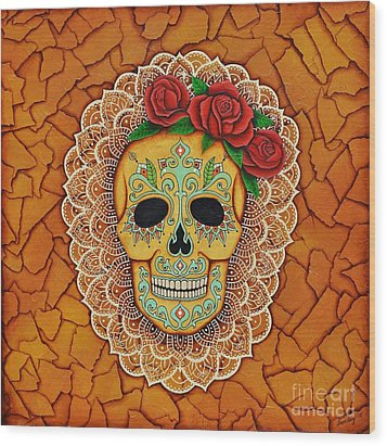 Wood Print featuring the painting Day Of The Dead With Roses And Lace by Joseph Sonday