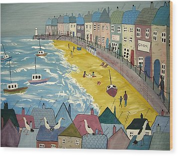 Day On The Beach Wood Print by Trudy Kepke