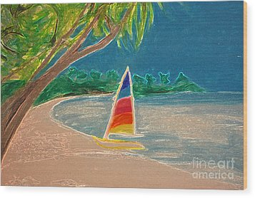 Day Sailer Wood Print by First Star Art