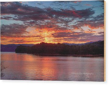 Daybreak Lake Ocoee Wood Print by Paul Herrmann