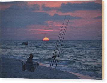 Wood Print featuring the photograph Daybreak On Navarre Beach With Deng The Fisherman by Jeff at JSJ Photography