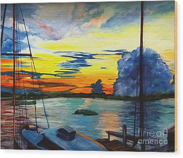 Daybreak Over  Apalachicola River  Wood Print