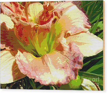 Wood Print featuring the photograph Daylily 1 by Sally Simon