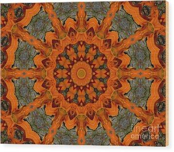 Daylily Orange Mandala Wood Print by MM Anderson