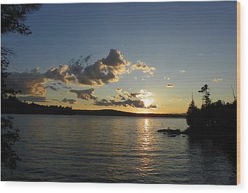 Day's End At Schoodic Lake Wood Print