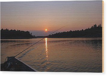 Sunset Fishing Wood Print by Debbie Oppermann