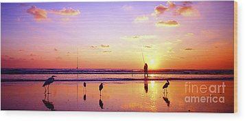 Wood Print featuring the photograph Daytona Beach Fl Surf Fishing And Birds by Tom Jelen