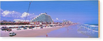 Wood Print featuring the photograph Daytona Main Street Pier And Beach  by Tom Jelen