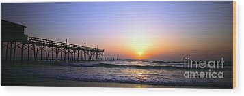 Wood Print featuring the photograph Daytona Sun Glow Pier  by Tom Jelen
