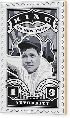 Dcla Babe Ruth Kings Of New York Stamp Artwork Wood Print by David Cook Los Angeles