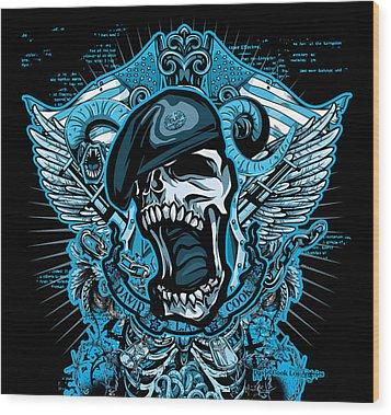 Dcla Designed Skull Combat Medic Wood Print by David Cook Los Angeles