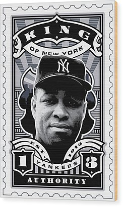 Dcla Elston Howard Kings Of New York Stamp Artwork Wood Print by David Cook Los Angeles