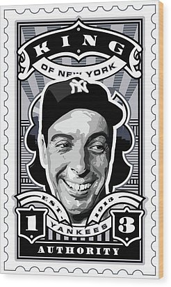 Dcla Joe Dimaggio Kings Of New York Stamp Artwork Wood Print by David Cook Los Angeles