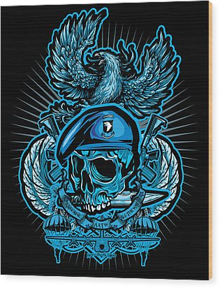 Dcla Skull Airborne All The Way Wood Print by David Cook Los Angeles
