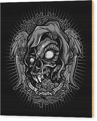 Dcla Skull Cold Dead Hand Gray 3 Wood Print by David Cook Los Angeles