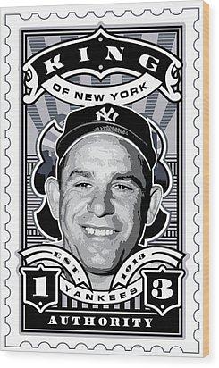 Dcla Yogi Berra Kings Of New York Stamp Artwork Wood Print by David Cook Los Angeles