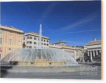 Wood Print featuring the photograph De Ferrari Square - Genova by Antonio Scarpi
