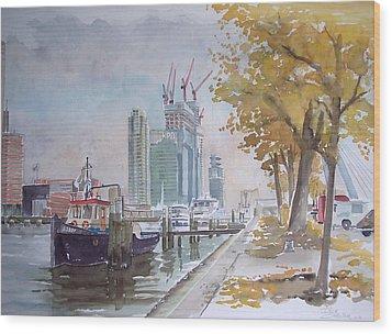 De Maas At Kop Van Zuid Wood Print by Dick Carlier