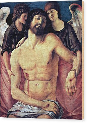 Wood Print featuring the painting Dead Christ Supported By Angels 1485 Giovanni Bellini by Karon Melillo DeVega