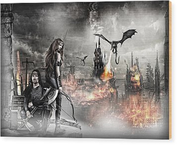 Dead City Wood Print by Wendy White