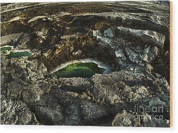 Dead Sea Sink Holes Wood Print by Dan Yeger