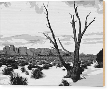 Dead Tree In Winter Wood Print by Jack McAward