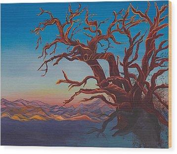 Wood Print featuring the painting Dead Tree by Yolanda Raker