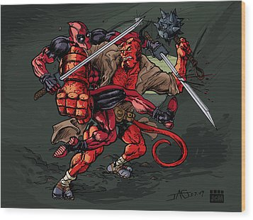 Deadpool Vs Hellboy Wood Print by John Ashton Golden