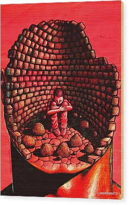 Dealing With Frustration Rage Pain Fear And Sadness Wood Print by Paulo Zerbato