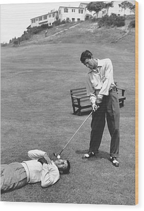 Dean Martin & Jerry Lewis Golf Wood Print by Underwood Archives