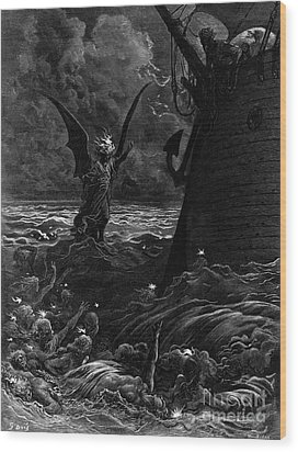Death-fires Dancing Around The Becalmed Ship Wood Print by Gustave Dore