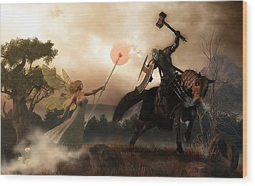Death Knight And Fairy Queen Wood Print by Daniel Eskridge