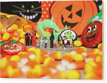 Death Takes His Kids Trick Or Treating Wood Print by Lon Casler Bixby