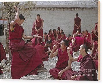 Debating Monks - Sera Monastery Lhasa Wood Print by Craig Lovell