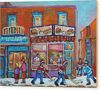 Decarie Hot Dog Restaurant Ville St. Laurent Montreal  Wood Print by Carole Spandau