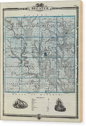 Decatur County Map Wood Print by Gianfranco Weiss