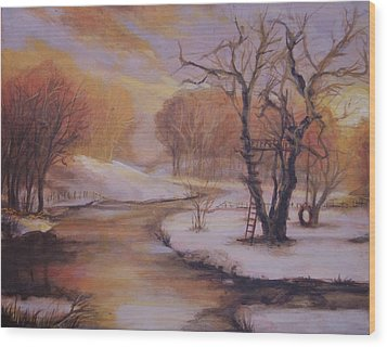 December Evening Wood Print