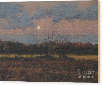 December Moon Wood Print by Gregory Arnett