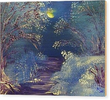 December Night Wood Print by Alys Caviness-Gober