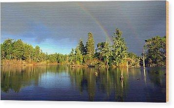 Decembers Double Rainbow Wood Print by Kristal Talbot