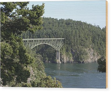 Deception Pass Bridge Iv Wood Print by Mary Gaines