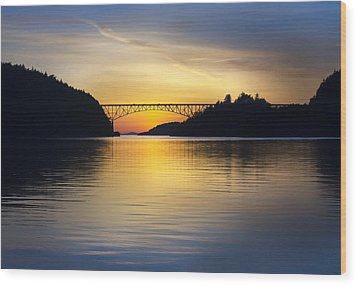 Deception Pass Bridge Wood Print by Sonya Lang