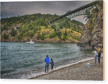 Deception Pass Wood Print by Kelly Reber