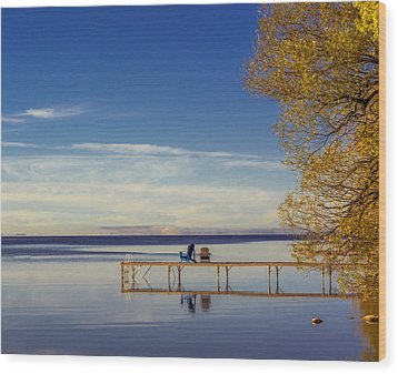 Deck Chairs On A Dock Wood Print