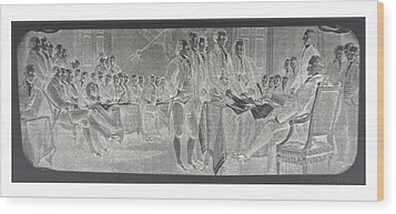 Declaration Of Independence In Negative Wood Print