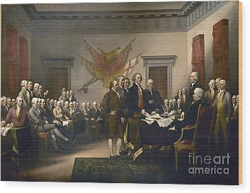 Declaration Of Independence Wood Print by Pg Reproductions