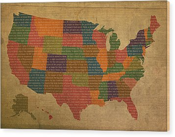 Declaration Of Independence Word Map Of The United States Of America Wood Print by Design Turnpike