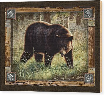 Deco Black Bear Wood Print by JQ Licensing