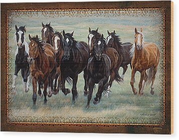 Wood Print featuring the painting Deco Horses by JQ Licensing