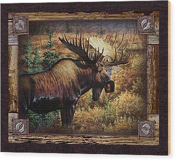 Deco Moose Wood Print by JQ Licensing